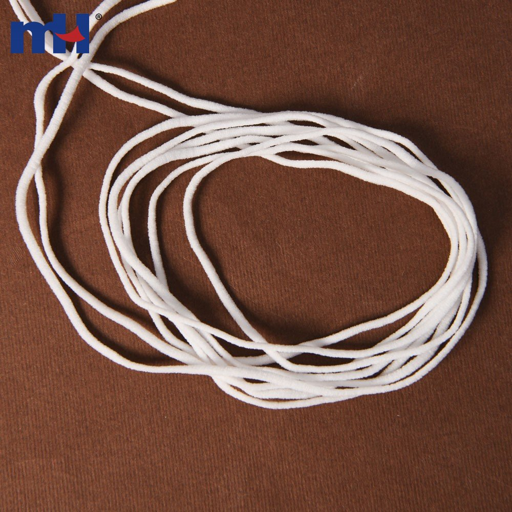 3mm White Polyester Spandex Round Earloop For Face Mask