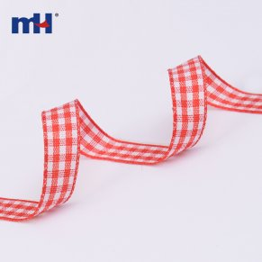0090-1110-1  white and red gingham ribbon