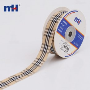 beige black tartan plaid ribbon