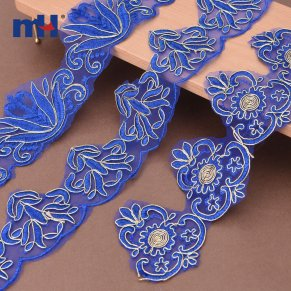blue corded lace trim