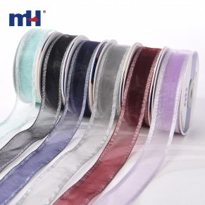 Metallic Silver Edge Wired Ribbon