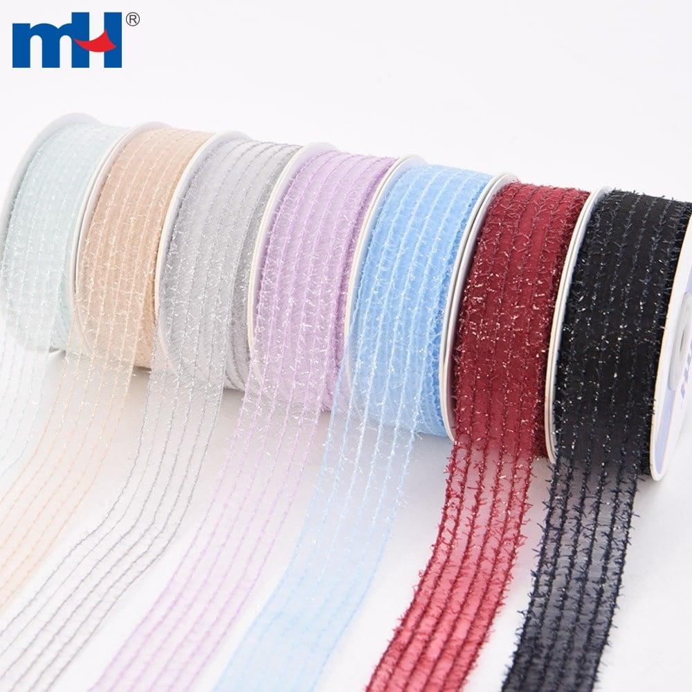 metallic striped organza ribbon