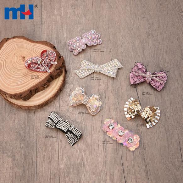 Decoración de zapatos con nudo de lazo de mariposa de cristal