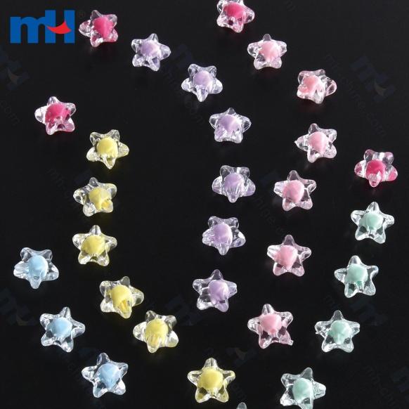 Perlas de acrílico de color mezclado transparente-1