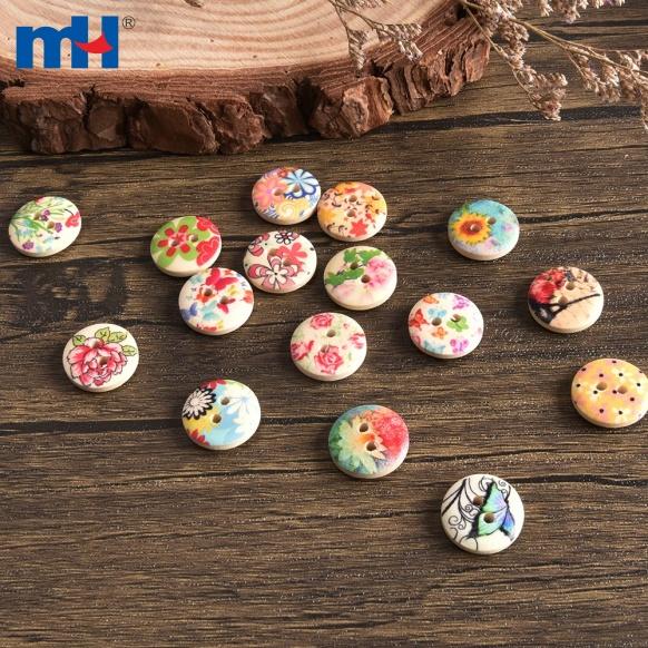 Bottoni in legno massello colorati e stampati