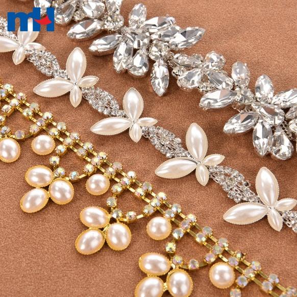 Recorte de cadena de copa de perlas transparentes y diamantes de imitación