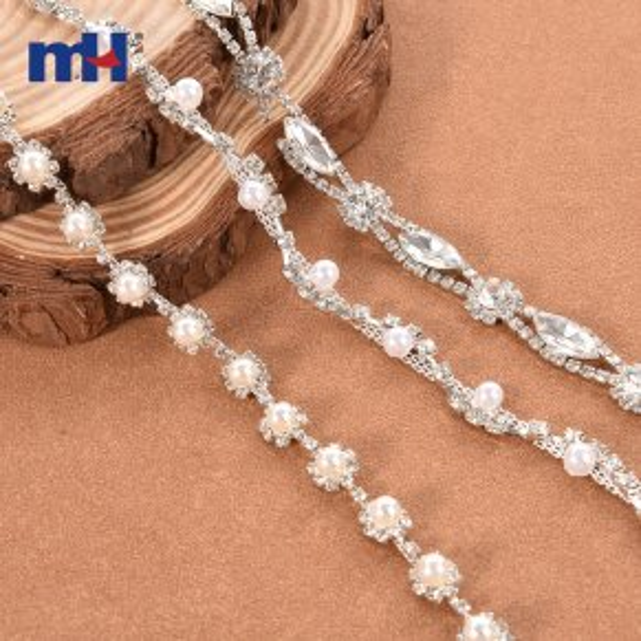 Cadena de copa de perlas Recorte de diamantes de imitación transparente